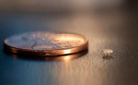 Micro-Bristle-Bot Shown Next to a Penny (IMAGE)